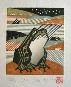 frog - woodblock print 1993 - Ray Morimura, Japan born 1948