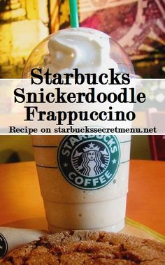 The Snickerdoodle Frappuccino is one of our favorite Starbucks Secret Menu Frappuccinos! Get one for half off with  today! for members! Starbucks Hacks, Starbucks Secret Menu Drinks, Starbucks Recipes, Coffee Recipes, Fondue Recipes, Cooking Recipes, Frappuccino Recipe, Starbucks Frappuccino, Starbucks Coffee