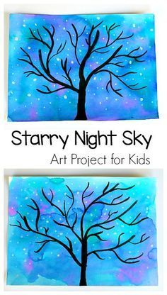 Winter Tree and Starry Night Sky art project for kids! Starry Night Sky Art Project for Kids: Use watercolors to make this nighttime star and tree scene. Perfect for preschool, kindergarten and up! (Can also be transformed into a winter tree. Winter Art Projects, Easy Art Projects, School Art Projects, Projects For Kids, Winter Crafts For Kids, Kindergarten Art, Preschool Art, Art Activities For Kids, Bfg Activities