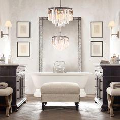 Install a chandelier to add instant elegance to your #bathroom. (Via @SoHaus Interior Design and houzz.com) #Decor