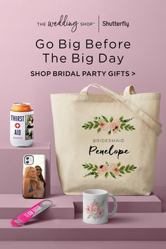 Find personalized gifts for your bridesmaids and bridesmen at Shutterfly. They'll love thoughtful touches like etched wine glasses, unique drink tumblers, personalized face masks, can coolers and tote bags. You can even create a one-of-a-kind photo book for everyone in your bride squad reminding them why you're so happy they'll be part of your big day. Bridal Shower Prizes, Bridal Shower Party, Bridal Shower Invitations, Birthday Party For Teens, Birthday Weekend, Teen Birthday, Perfect Wedding, Diy Wedding, Wedding Ideas