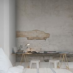 via Lovenordic Design: like our ruined wall at Charles St W in Toronto . i painted a design on the wall below as if it had always been there Home Interior, Interior Architecture, Interior And Exterior, Creative Architecture, Design Interior, Sweet Home, Turbulence Deco, Exposed Brick, Design Case