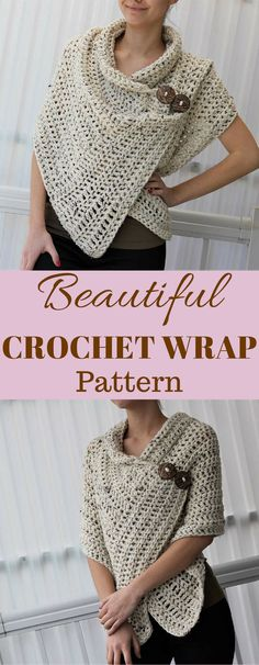 I love this BEAUTIFUL crochet wrap pattern! It looks so comfy! I'm going to start one this weekend. #affiliatelink #crochet #pattern  #diy
