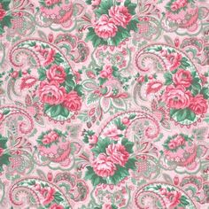 "1YD x 55/56"" Wide COTTON LAMINATE Shabby Cottage Chic VERANDA Rose Pink Paisley #WestminsterFabrics"