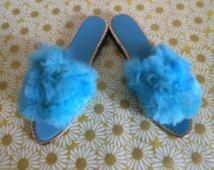 Glamorous Vintage Aqua Blue Fur Gold Trim  Ladies Boudoir 1960s Slippers Hollywood