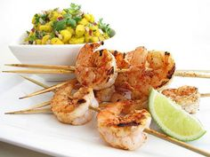 Grilled Chile-Lime Marinated Shrimp with Mango Salsa