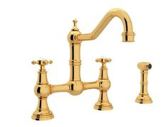 Buy the Rohl Polished Nickel Direct. Shop for the Rohl Polished Nickel Perrin and Rowe Edwardian Era GPM Bridge Faucet with Two Lever Metal Handles - Includes Sidespray and save. Chrome Handles, Edwardian Era, Victorian, Georgian Era, Plumbing Fixtures, Bath Fixtures, Kitchen Handles, Bathroom Faucets, Kitchen Faucets