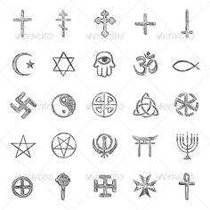 vector set of sketch religious symbols by Nikiteev_Konstantin, via Shutterstock Symbolic Tattoos, Unique Tattoos, Cool Tattoos, Satanic Tattoos, Satanic Art, Stick N Poke Tattoo, Stick And Poke, Satan Drawing, Tatuagem Diy
