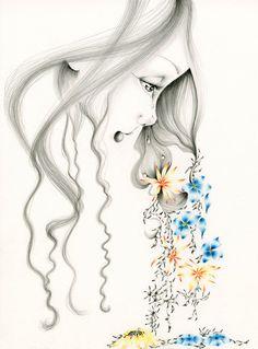 Girl Illustration Girl Print Giclee Art Print of My Original Pencil Drawing…