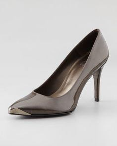 Plates Metal-Tipped Patent Pump by Stuart Weitzman at Neiman Marcus.