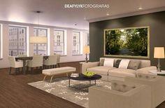 Composições de fotografias na decoração de ambientes.