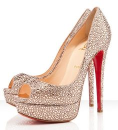 60f0688c5a9 Christian Louboutin Lady Peep Peach Pumps  215.00 - that samantha feel in  heel form Sparkly Shoes