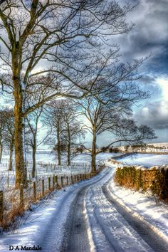 Snow on the road! (Photomatix) Snow on the road! By Wharton, Cumbria,. - Snow on the road! (Photomatix) Snow on the road! By Wharton, Cumbria, England This im - Winter Szenen, Winter Magic, Winter Road, Winter Blue, Winter Trees, Cumbria, Snow Scenes, Winter Pictures, Winter Beauty