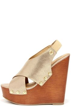 ef83ab9f54f Mythical Proportions Light Gold Slingback Wedge Sandals