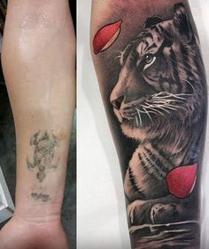 Tiger cover up tattoo - The tattoo is almost faded and more than a bad design, this one needs the more hiding. Luckily it isn't hard to do so. You can almost have any design that you want.