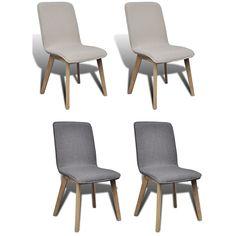 Kitchen Dining Side Chair Oak Frame Fabric Upholstered Light/Dark Gray 2/4 pcs  | eBay