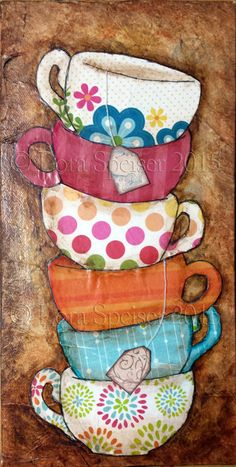 Tea Cups Stack Teacup Original Textured Painting by SpeiserStudio
