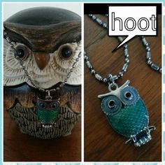 Nwt enamed green oil on chain Nwt green enameled owl on 18 in. Chain Jewelry Necklaces