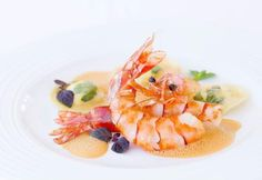 Roasted jumbo prawns with soft sheep's cheese and fresh herb stuffed ravioli at Le Gaiac, Hotel Le Toiny, St. Barths Discover more mouthwatering recipes and photos from your favorite St Barth Restaurant by following my board Saintbarthcom and Twitter at @saintbarthcom #legaiac #stbarths #foodies