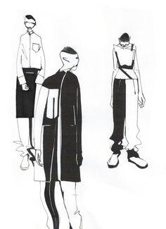 Sketch Book Sci-fi meets Céline: Minki Cheng presents his collection - Illustration Mode, Fashion Illustration Sketches, Fashion Sketchbook, Fashion Sketches, Central Saint Martins, Fashion Collage, Fashion Art, Fashion Ideas, Celine