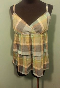 Ann Taylor LOFT Blue Taupe Tan Plaid Cotton Tiered Strappy Smock Tank Top Size SP $14 Free Shipping