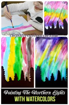 Pretty Northern Lights paintings with watercolors & silhouette - art & painting for kids.