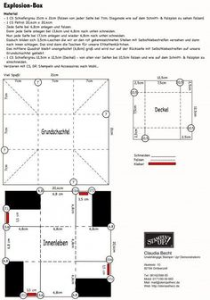 Explosion Box template with pockets for tags.: