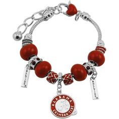 $19.95 - Alabama Crimson Tide Circle Logo Bracelet - Silver/Crimson