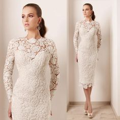 Haute Couture Short Evening Dress Lace Long Sleeve Pearls Elegant Women Vestidos Noche Sheath 2015 New Arrival Ivory Prom Gowns E4224 Floor Length Evening Dress Full Length Evening Dresses Uk From Store005, $124.61  Dhgate.Com