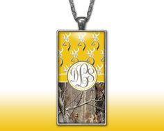 Yellow Buckhead Camo Monogram Pendant Charm Necklace Browning Personalized Country Girl Custom Initial Necklace, Monogram Jewelry