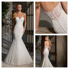 Mori Lee style 2713. Love the Elegant Alencon Lace on Net with Wide Hemline and the sheer back!! We have in stock in a size 8 ivory.
