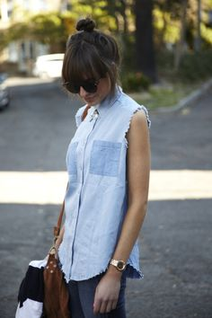 Somedays lovin sleeveless shirt, Minkpink sunnies and leather suede bag