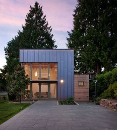 Ninebark Design/Build clad a tiny house in Seattle in standing-seam copper. Read more about the 290-square-foot garden pavilion here.