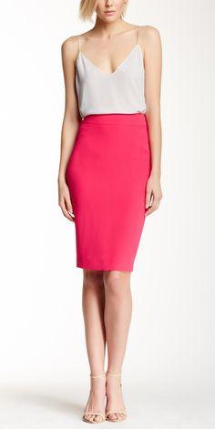 Love this Silk Pink Pencil Skirt.