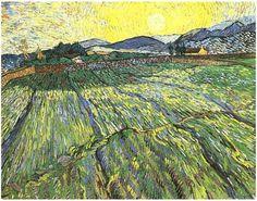 Vincent van Gogh Campo cercado con el sol naciente 1889