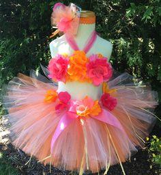 Baby Girl Luau Tutu Set  Pink   Hawaiian Luau by ChristiCreations