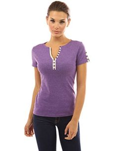 PattyBoutik Women's Notch Neck Buttons Trim Top (Heather Purple L)