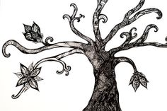 Pen Art: black and white tree filled with intricate pen designs by Sarah Jansma Pen Designs, Black And White Tree, Pen Art, Sketching, Butterfly, Ink, Tattoos, Blue, Tatuajes
