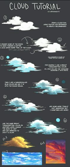 "art-res: ""lilithsleeps: ""I forgot to post this here. A Cloud tutorial that I made for meself. "" A delightful cloud tutorial! Digital Art Tutorial, Digital Painting Tutorials, Art Tutorials, Illustrator Tutorials, Autodesk Sketchbook Tutorial, Cloud Tutorial, Eye Tutorial, Sky Digital, Drawing Tips"