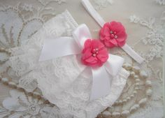 White Lace Bloomers with a Satin Bow and Hot by LilMissSweetPea