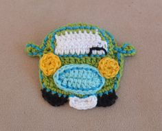 Crocheted car application. Pattern: http://www.ravelry.com/patterns/library/funny-car