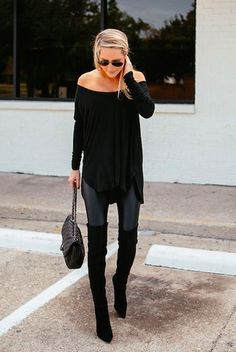 OUTFIT--fall / winter - street style - street chic style - casual outfits - black off the shoulder knit tunic + black leather leggings + black heeled over the knee boots + black shoulder bag + black aviator sunglasses Winter Outfits, Casual Outfits, Cute Outfits, Boot Outfits, Legging Outfits, Fashionable Outfits, Dress Casual, Casual Chic, Look Fashion