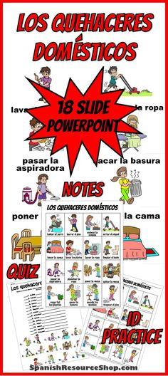 Spanish quehaceres domésticos are so easy to learn with this power point which includes picture notes, picture ids and a bonus quiz! So fun and student friendly!