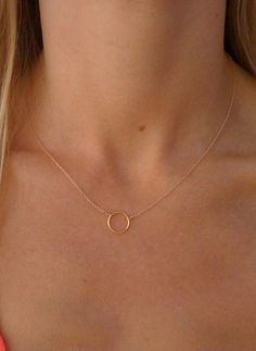 A simple circle on a gold chain. 16 chain.