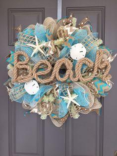 Beach Burlap Deco Mesh Wreath with Seashells, Seashell Wreath, Beach Wreath, Starfish Wreath