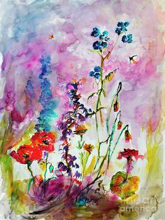 Wildflower Gathering Watercolor And Ink Painting Painting by Ginette Callaway