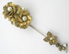 Miriam Haskell Floral Stick Pin - Garden Party Collection Vintage Jewelry
