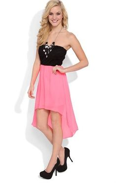 Deb Shops Strapless High Low Dress with Black Lace Bodice and Open Bow Back $25.00