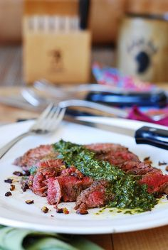 Flank steak and Chimichurri sauce (garlic, herbs, some spices - very easy to make!)  | JuliasAlbum.com |  Argentinian recipes, gluten free main course