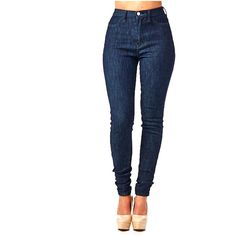 Bleu Evolution HIGH WAIST WASHED SKINNY JEANS ($49) ❤ liked on Polyvore featuring jeans, bottoms, indigo, skinny leg jeans, high-waisted jeans, high waisted jeans, indigo jeans and zipper skinny jeans